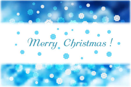 Christmas snowflakes and white strip for text on blue abstract beautiful background. Vector illustration.