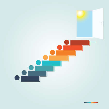 Stairway to the open door with the sun and the blue sky 8 steps. Stairway to Heaven Conceptual illustration for infographic