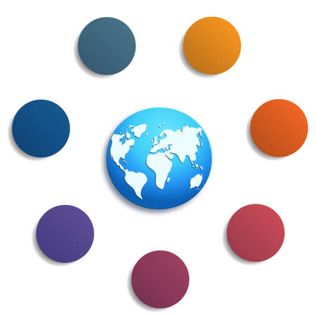 Illustration 7 colored circles with space for text around the world map, can be used for presentations, step-by-step processes.