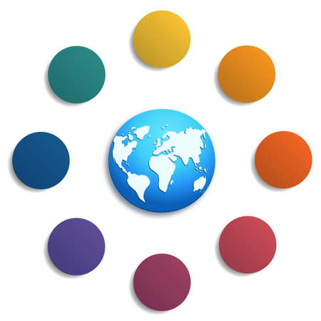 Illustration 8 colored circles with space for text around the world map, can be used for presentations, step-by-step processes. Stock Photo