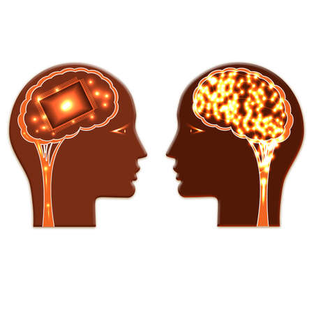Shone chip wheels and shone brain, concept rational and creative thinking heads of two people.
