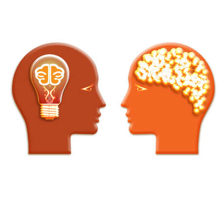 Conceptual illustration, lamp and a shone brain in heads of two people. Stock Photo