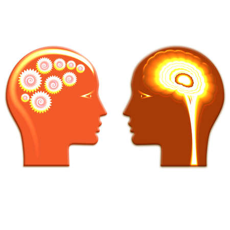 Shone Gears wheels and shone brain, concept rational and creative thinking heads of two people.
