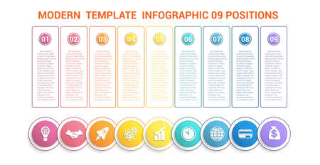 Timeline modern template infographic for business 9 steps, processes, options, parts. Colorful round numbered buttons and circles with icons, also a place for text in color frames. 向量圖像