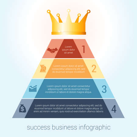 Infographic success business modern template for 4 steps, processes, options, parts, presentations. Vettoriali
