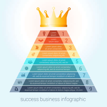 Infographic success business modern template for 9 steps, processes, options, parts, presentations. Vectores
