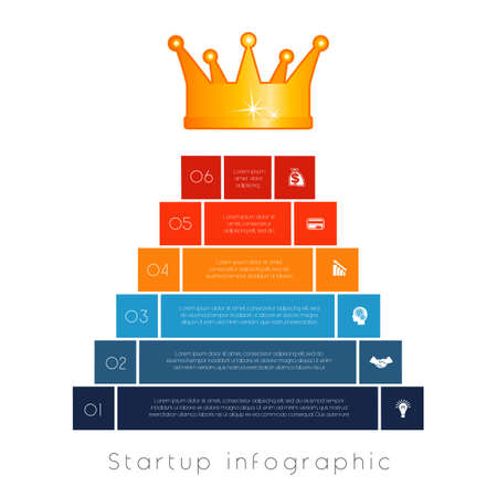 Pyramid of 6 steps to success. Infographic business startup.