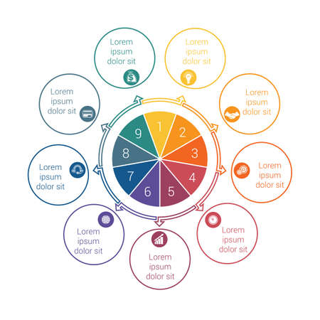 Template for info grapchics Diagram 9 cyclic processes, step by step, colorful circles in a circle, pie chart for workflow, cycle processes, diagrams, business options, banner, web design