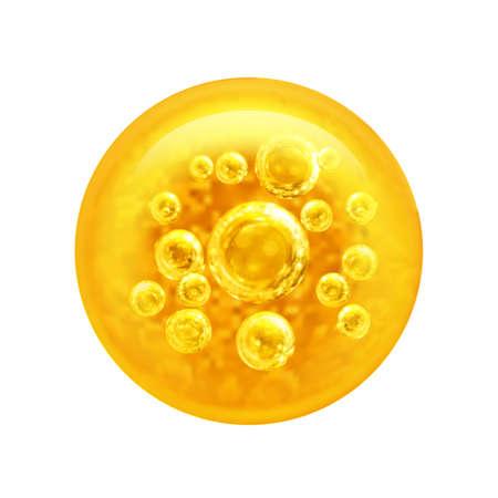 Pęcherzyki oleju wewnątrz dużej bańki oleju na białym tle na białym tle ilustracji wektorowych.