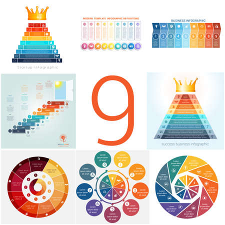 Set universal templates elements Infographics conceptual cyclic processes for 9 positions possible to use for workflow, banner, diagram, web design, timeline, area chart,number options  イラスト・ベクター素材
