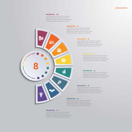 Vorlage Infografik 8 Positionen für Textbereich. Diagramm mit bunten Elementen um den Kreis.