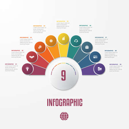 Set Chart Template  Elements Infographics Conceptual Cyclic Processes for 9 Positions Possible to Use for Workflow, Banner, Diagram, Web design, Timeline, Area chart,Number options 免版税图像 - 102486861