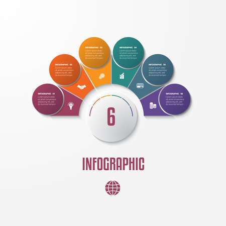 Set Chart Template Elements Infographics Conceptual Cyclic Processes for 6 Positions Possible to Use for Workflow, Banner, Diagram, Web design, Timeline, Area chart,Number options