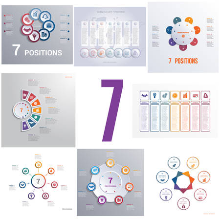 Set 8 universal templates elements Infographics conceptual cyclic processes for seven positions possible to use for workflow, banner, diagram, web design, timeline, area chart,number options