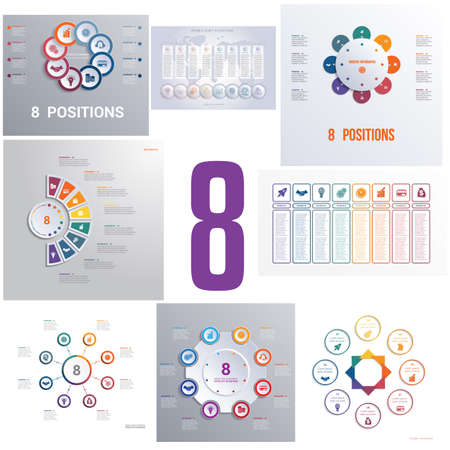 Set 8 universelle Vorlagenelemente Infografiken konzeptionelle zyklische Prozesse für acht Positionen, die für Workflow, Banner, Diagramm, Webdesign, Zeitleiste, Flächendiagramm, Zahlenoptionen verwendet werden können