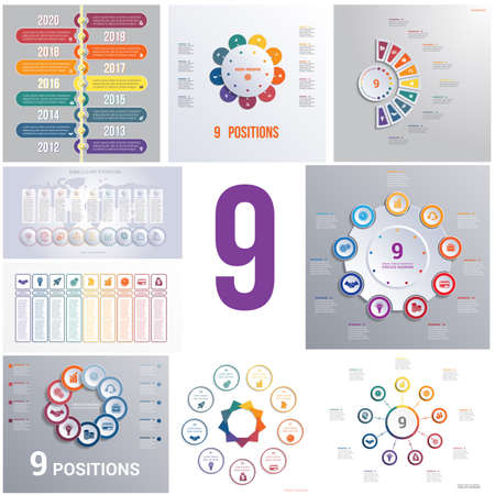 Set 9 universal templates elements Infographics conceptual cyclic processes for 9 positions possible to use for workflow, banner, diagram, web design, timeline, area chart,number options Illustration