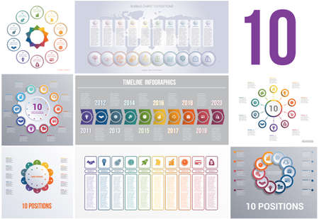 Set 8 universal templates elements Infographics conceptual cyclic processes for 10 positions possible to use for workflow, banner, diagram, web design, timeline, area chart,number options