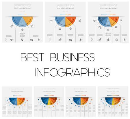 Infografiken. Halbkreise färben. Vorlagen mit Textbereichen an 3, 4, 5, 6, 7, 8, 9 Positionen Vektorgrafik