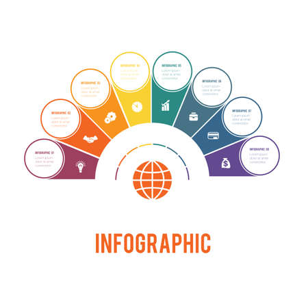 Colorful semicircle and circles. Elements of Infographics Conceptual Cyclic Processes for 8 Positions Possible to Use for Workflow, Banner, Diagram, Web design, Timeline, Area chart, Number options