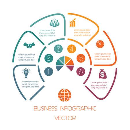 Infografik-Halbkreisvorlage aus bunten Linien mit Textbereichen an sechs Positionen. Geschäftliche Infografik. Vektorgrafik