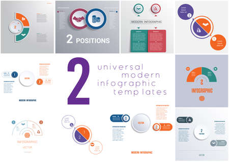 Set 10 universal templates elements for Infographics conceptual cyclic processes for 2 positions possible to use for workflow, banner, diagram, web design, timeline, area chart,number options