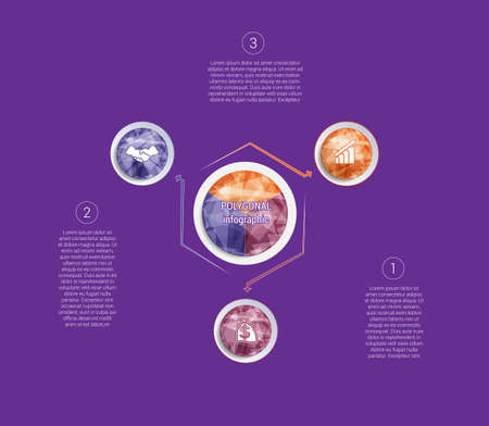 Polygonal infographics. For designs on 3 positions colorful circles with triangles and polygons in a circle.