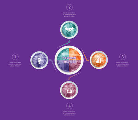 Polygonal infographics. For designs on 4 positions colorful circles with triangles and polygons in a circle.