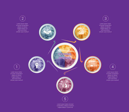 Polygonal infographics. For designs on 5 positions colorful circles with triangles and polygons in a circle. Stock Illustratie