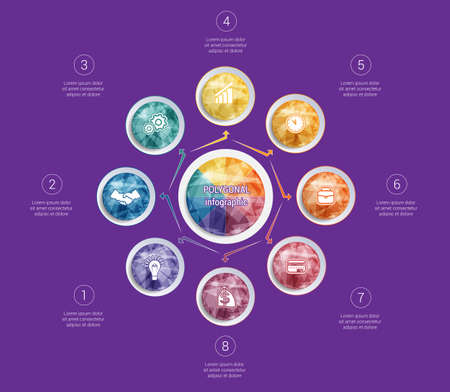 Polygonal infographics. For designs on 8 positions colorful circles with triangles and polygons in a circle. Stock Illustratie
