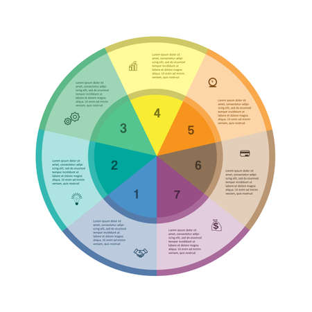 Template for infographics. Business project. Colorful ring. 7 positions Vektorgrafik