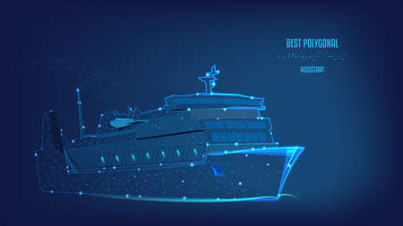 Ocean liner, ship from Polygonal of triangles and points. Concept of business trip, travel or tourism, logistic, shipping. Background of beautiful dark blue night sky. Low poly. Ilustração