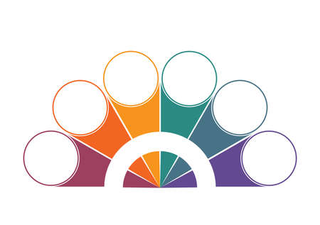 Colorful semicircle and circles for 6 Positions. Template for colour Infographics