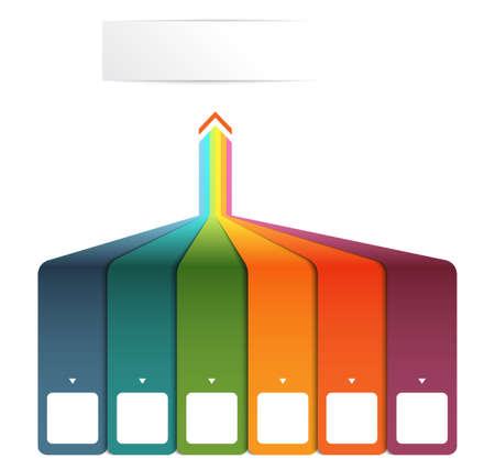 Vertical colourful strips with prospect and shade. Template Infographic for 6 options. 版權商用圖片