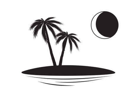 Islet, palm trees, moon, night. Silhouettes of palm trees on an islet. Black illustration isolated on white background. Dream concept or Concept of vacation, trip, travel or tourism Stok Fotoğraf