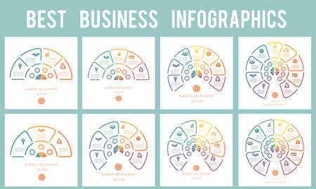 Semicircle from Lines. Infographics 3, 4, 5, 6, 7, 8, 9, 10 positions. Templates modern Stockfoto
