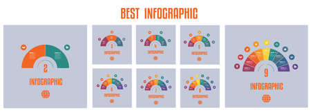 Infographics. Templates from colourful Parts Semicircle with text areas on 2 3 4 5 6 7 8 9 positions. Vektorgrafik