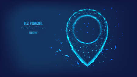 Concept of successful navigate, delivery, transportation, map location, transport logistic. Polygonal map pointer or GPS pinfrom triangles and luminous points. Background of beautiful dark blue night sky. Vector Polygonal illustration. Low poly.