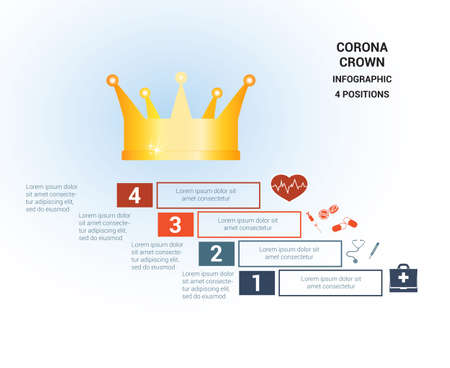 Vector template  for 4 positions. Conceptual medical infographic. Steps with text areas. On top is the crown, corona. Can also be used for workflow, banner, diagram, web design, timeline, area chart, number options, step up options  イラスト・ベクター素材