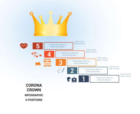 Vector template  for 5 positions. Conceptual medical infographic. Steps with text areas. On top is the crown, corona. Can also be used for workflow, banner, diagram, web design, timeline, area chart, number options, step up options  イラスト・ベクター素材