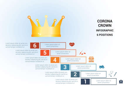 Vector template  for 6 positions. Conceptual medical infographic. Steps with text areas. On top is the crown, corona. Can also be used for workflow, banner, diagram, web design, timeline, area chart, number options, step up options