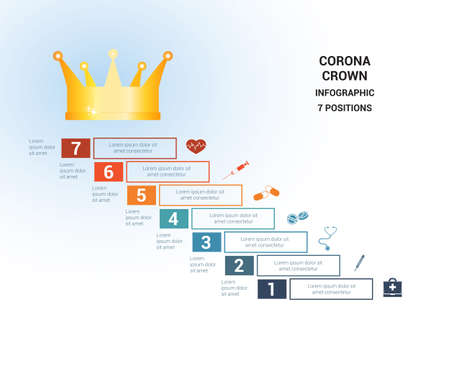 Vector template  for 7 positions. Conceptual medical infographic. Steps with text areas. On top is the crown, corona. Can also be used for workflow, banner, diagram, web design, timeline, area chart, number options, step up options