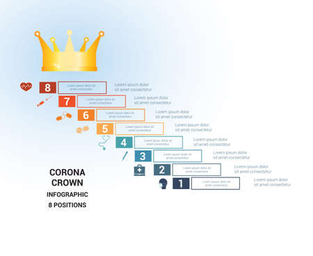 Vector template  for 8 positions. Conceptual medical infographic. Steps with text areas. On top is the crown, corona. Can also be used for workflow, banner, diagram, web design, timeline, area chart, number options, step up options  イラスト・ベクター素材