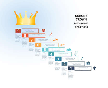Vector template  for 9 positions. Conceptual medical infographic. Steps with text areas. On top is the crown, corona. Can also be used for workflow, banner, diagram, web design, timeline, area chart, number options, step up options