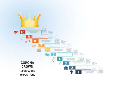 Vector template  for 10  positions. Conceptual medical infographic. Steps with text areas. On top is the crown, corona. Can also be used for workflow, banner, diagram, web design, timeline, area chart, number options, step up options
