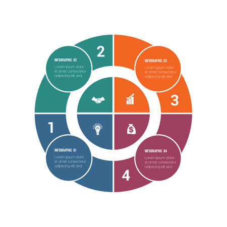 Colorful circular infographics from ring and circles. 4 positions for textual information. Use for business presentations is possible.