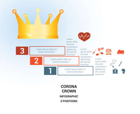 Vector template  for 3 positions. Conceptual medical infographic. Steps with text areas. On top is the crown, corona. Can also be used for workflow, banner, diagram, web design, timeline, area chart, number options, step up options