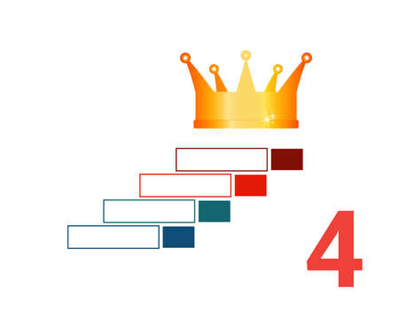 Infographic template  for 4 positions. Golden corona and steps.