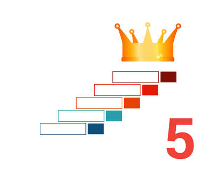 Infographic template  for 5 positions. Golden corona and steps.