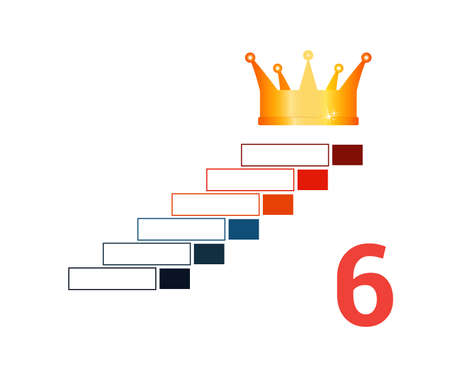 Infographic template  for 6 positions. Golden corona and steps.