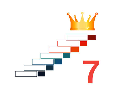 Infographic template  for 7 positions. Golden corona and steps. 写真素材